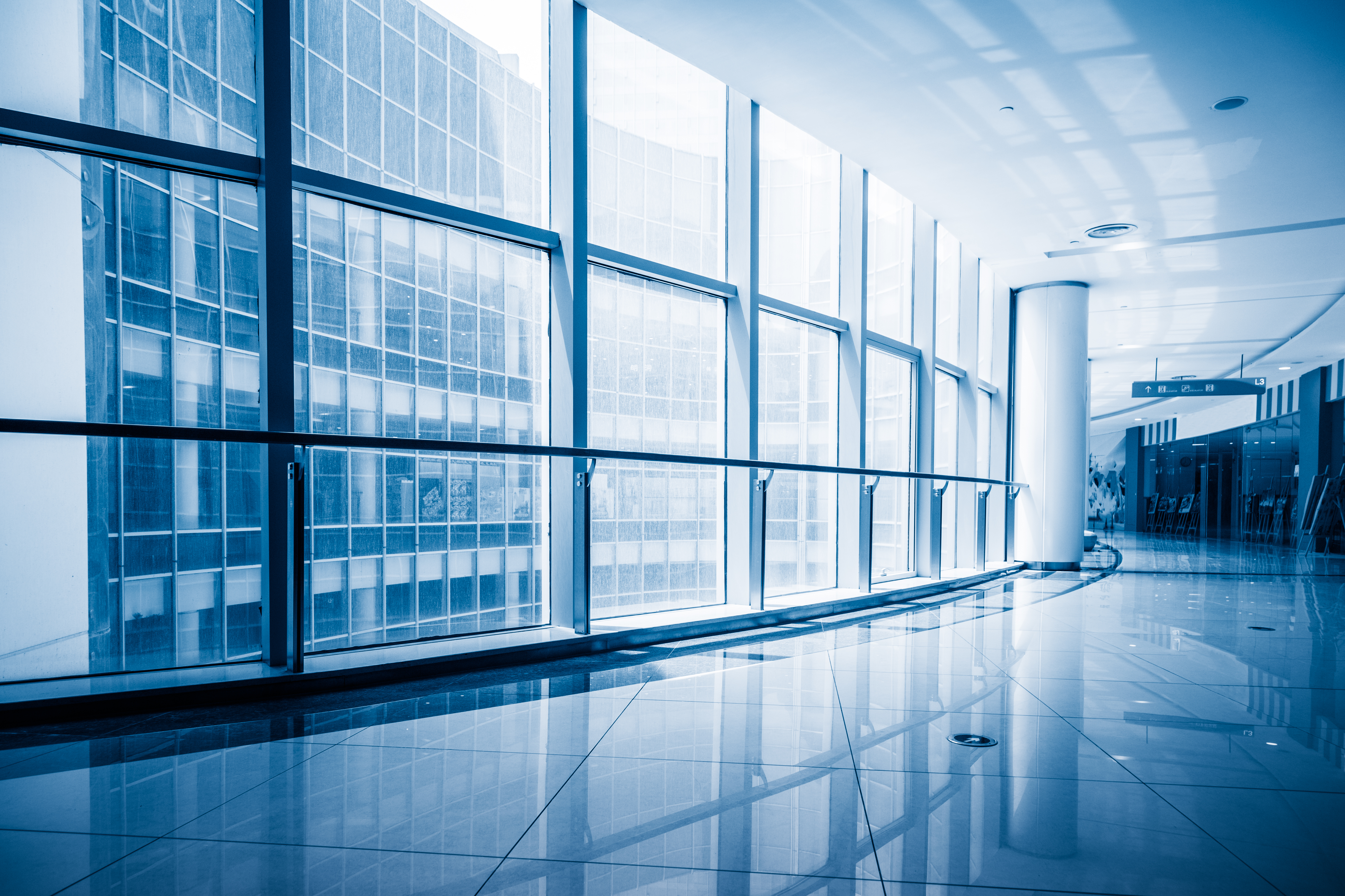 Modern Building Corridor With Glass Windows,Blue Toned,China